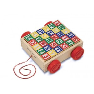 MELISSA & DOUG CLASSIC ABC WOODEN CLOCK CART